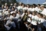 05 December 2004: Notre Dame poses with the championship trophy. Notre Dame defeated UCLA 4-3 on penalty kicks after the game ended in a 1-1 overtime tie at SAS Stadium in Cary, NC in the championship match in the 2004 NCAA Division I Women's College Cup...