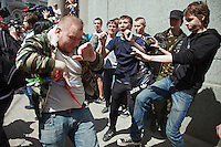 Moscow, Russia, 27/05/2012..Russian nationalists attack gay rights demonstrators at an attempted gay pride parade in central Moscow. Several dozen people were arrested during clashes as Russian nationalists attacked gay rights activists during their seventh attempt to hold a gay pride parade in the Russian capital.