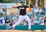 13 March 2012: Miami Marlins pitcher Heath Bell on the mound during a Spring Training game against the Atlanta Braves at Roger Dean Stadium in Jupiter, Florida. The two teams battled to a 2-2 tie playing 10 innings of Grapefruit League action. Mandatory Credit: Ed Wolfstein Photo