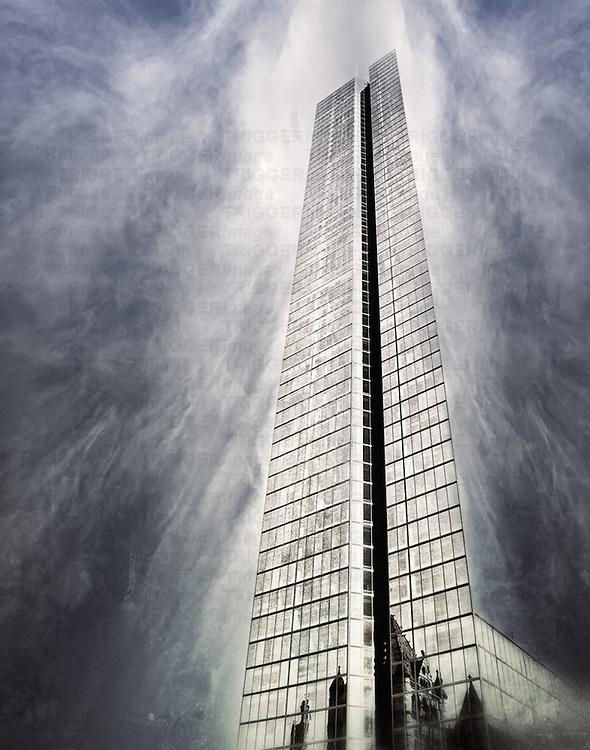 A Boston skyscraper in a cloudy texture day.