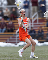 Syracuse University midfielder Katie Webster (18) on the attack.   Syracuse University (orange) defeated Boston College (white), 17-12, on the Newton Campus Lacrosse Field at Boston College, on March 27, 2013.