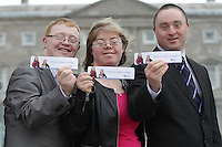 21/03/14 (L-R)Thomas Garry from Tullamore ,Cathy Soden from Dublin and Shaun Bradley from Donegal pictured at World Down Syndrome Day ,The National Advisory Council who are adults with Down syndrome are going to be delivering their manifesto to a bunch of TD's and MEPs and handing out fliers etc.Pictured at Buswells Hotel,Co Dublin this afternoon… Pic STEPHEN COLLINS/Collins Photos