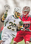 18 April 2015:  University of Vermont Catamount Midfielder John Everett, a Redshirt Sophomore from Virginia Beach, VA, in action against the University of Hartford Hawks at Virtue Field in Burlington, Vermont. The Cats defeated the Hawks 14-11 in the final home game of the 2015 season. Mandatory Credit: Ed Wolfstein Photo *** RAW (NEF) Image File Available ***