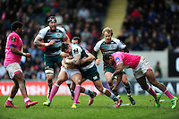 Adam Thompstone of Leicester Tigers takes on the Stade Francais defence. European Rugby Champions Cup quarter final, between Leicester Tigers and Stade Francais on April 10, 2016 at Welford Road in Leicester, England. Photo by: Patrick Khachfe / JMP
