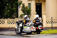 Motorcycle police officers in Reykjavik, the capital of Iceland.