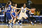 17 November 2012: Duke's Ka'lia Johnson (14) defends a pass by Presbyterian's Taryn Richard (40). The Duke University Blue Devils played the Presbyterian College Blue Hose at Cameron Indoor Stadium in Durham, North Carolina in an NCAA Division I Women's Basketball game. Duke won the game 84-45.