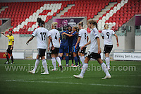 The French celebrate another goal while the German team look dejected during the UEFA Womens U19 Semi-Final at Parc y Scarlets Wednesday 28th August 2013. All images are the copyright of Jeff Thomas Photography-www.jaypics.photoshelter.com-07837 386244-Any use of images must be authorised by the copyright owner.