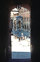 Siena:  Entrance to Piazza Del Campo.  Photo '83.