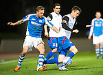 St Johnstone v Inverness Caley Thistle..29.12.12      SPL.Owain Tudor-Jones is fouled by Rowan Vine.Picture by Graeme Hart..Copyright Perthshire Picture Agency.Tel: 01738 623350  Mobile: 07990 594431