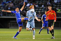 Davy Arnaud (blue), Jeff Larentowicz...Kansas City Wizards defeated Colorado Rapids 1-0 at Community America Ballpark, Kansas City, Kansas.