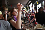 Emily, an Easy Jet Air Hostess videos Royal Wedding..Many nationalities, especially English, Australians and French, coming together at midday in the English traditional style 'Frog and Rosbif' Pub in the centre of Paris, to watch the Royal Wedding of Prince William and Catherine Middleton in London. At 119 rue Saint Denis, Paris, France
