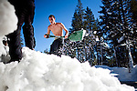 Alexander Jimenez works to dig out a propane tank buried under record early season snowfall in Soda Springs, Calif., January 6, 2011. California has already received 80% of its normal annual precipitation in the first two months of a rainy season that lasts another four months..CREDIT: Max Whittaker for The Wall Street Journal.CALWATER