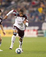 Colorado Rapids forward Caleb Folan (21) dribbles. In a Major League Soccer (MLS) match, the New England Revolution tied the Colorado Rapids, 0-0, at Gillette Stadium on May 7, 2011.