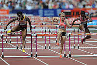 Sally Pearson of Australia on her way to winning the Womens 100m Hurdles at the Sainsbury Anniversary Games, Olympic Stadium, London England, Saturday 27th July 2013-Copyright owned by Jeff Thomas Photography-www.jaypics.photoshelter.com-07837 386244. No pictures must be copied or downloaded without the authorisation of the copyright owner.