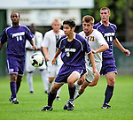 11 September 2009: University of Portland Pilots' defenseman/midfielder Keith Grubisich (5), a Freshman from San Jose, CA, in action against the University of Vermont Catamounts in the first round of the 2009 Morgan Stanley Smith Barney Soccer Classic held at Centennial Field in Burlington, Vermont. The Catamounts and Pilots battled to a 1-1 double-overtime tie. Mandatory Photo Credit: Ed Wolfstein Photo