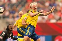 WINNIPEG, MANITOBA, CANADA - June 8, 2015: The Woman's World Cup Sweden vs Nigeria match at the Winnipeg Stadium . Final score, Sweden 1, Nigeria 0.