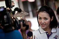 "YOLLANDA ""NOK"" SUANYOT gives a speech to the audience of the main national broadcast TV news channel 3 as she stands for elections in northern Nan province, Thailand. Known formerly as a beauty queen, is running today a political campaign for the local rule of Nan city. 30-year-old Yollada Suanyot, who was born a male, has become the first transgender to register as an election candidate. The upcoming elections will be held on May 27th in 24 constituencies in 15 districts. In accord with the Thai media this is the first time in Thailand that a transgender is taking part in a provincial election."