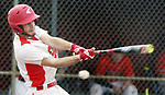 WOLCOTT CT. 17 April 2017-041517SV11-#3 Nick Longo of Wolcott takes a slice at the ball in the 3rd inning against Watertown High during NVL baseball action in Wolcott Monday. <br /> Steven Valenti Republican-American