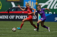 Portland, OR - Saturday April 15, 2017: Allie Long, Maddy Evans during a regular season National Women's Soccer League (NWSL) match between the Portland Thorns FC and the Orlando Pride at Providence Park.