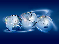 three globes