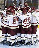The Eagles celebrate their win. - The Boston College Eagles defeated the visiting Merrimack College Warriors 3-2 on Friday, October 29, 2010, at Conte Forum in Chestnut Hill, Massachusetts.