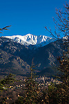 The snow capped Canigou, at 2,784m, the highest mountain in the Pyrenees Orientales, towering above the town of Vernet Les Bains