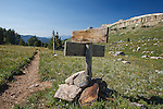 Trail sign at junction of high lakes trail and trail from island lake trailhead in the beartooth mountains wilderness
