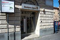 Roma 6 Settembre 2011.Manifestazione del sindacato  Usb con i comitati di base contro la manovra del governo Berlusconi..La  Deutsche Bank di largo Argentina colpita con le uova dai manifestanti.