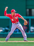 31 May 2014: Washington Nationals second baseman Danny Espinosa gets an out against the Texas Rangers at Nationals Park in Washington, DC. The Nationals defeated the Rangers 10-2, notching a second win of their 3-game inter-league series. Mandatory Credit: Ed Wolfstein Photo *** RAW (NEF) Image File Available ***