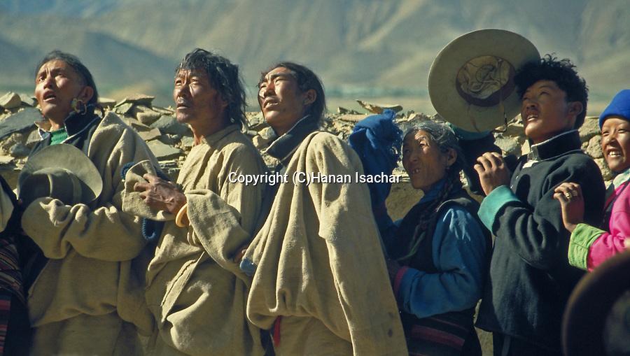 Shigatse, Tibet, the Hanging of the Huge Thangka festival at Tashilhunpo Monastery