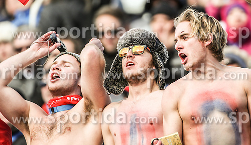 14.02.2014, Rosa Khutor Alpine Center, Krasnaya Polyana, RUS, Sochi, 2014, Super- Kombination, Herren, Slalom, im Bild Norwegische Fans // Fans of Norway during the Slalom of the mens Super Combined of the Olympic Winter Games 'Sochi 2014' at the Rosa Khutor Alpine Center, Krasnaya Polyana, Russia on 2014/02/14. EXPA Pictures &copy; 2014, PhotoCredit: EXPA/ Minkoff<br /> <br /> *****ATTENTION - OUT of GER*****