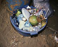 Garbage on Zicatela Beach, Puerto Escondido during spring break (semana santa) vacation 2006