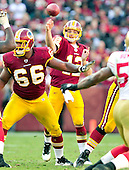 Washington Redskins quarterback John Beck (12) releases a pass in the fourth quarter against the San Francisco 49ers at FedEx Field in Landover, Maryland on Sunday, November 6, 2011.  Chris Chester (66) helps with the pass protection. The 49ers won the game 19 - 11..Credit: Ron Sachs / CNP