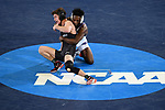 BIRMINGHAM, AL - MARCH 11:  Nate Rodriguez of Maryville takes on Darren Wynn of McKendree in the 141 lb weight class during the Division II Men's Wrestling Championship held at the Birmingham CrossPlex on March 11, 2017 in Birmingham, Alabama. (Photo by Jamie Schwaberow/NCAA Photos via Getty Images)