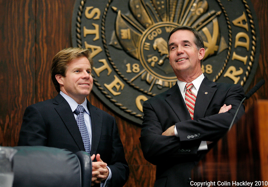 TALLAHASSEE, FLA. 4/30/10-HARIDOPOLOS 43010 CH01-Incoming Senate President Mike Haridopolos, R-Melbourne, left, talks with outgoing Senate President Jeff Atwater, R-Palm Beach Gardens, during the final day of the 2010 legislative session at the Capitol in Tallahassee...COLIN HACKLEY PHOTO