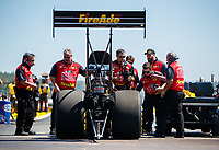 Mar 19, 2017; Gainesville , FL, USA; Crew members with NHRA top fuel driver Leah Pritchett during the Gatornationals at Gainesville Raceway. Mandatory Credit: Mark J. Rebilas-USA TODAY Sports