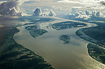 Amazonia, Brazil. Aerial view of the great Amazon river in the wet season taken from a great height.