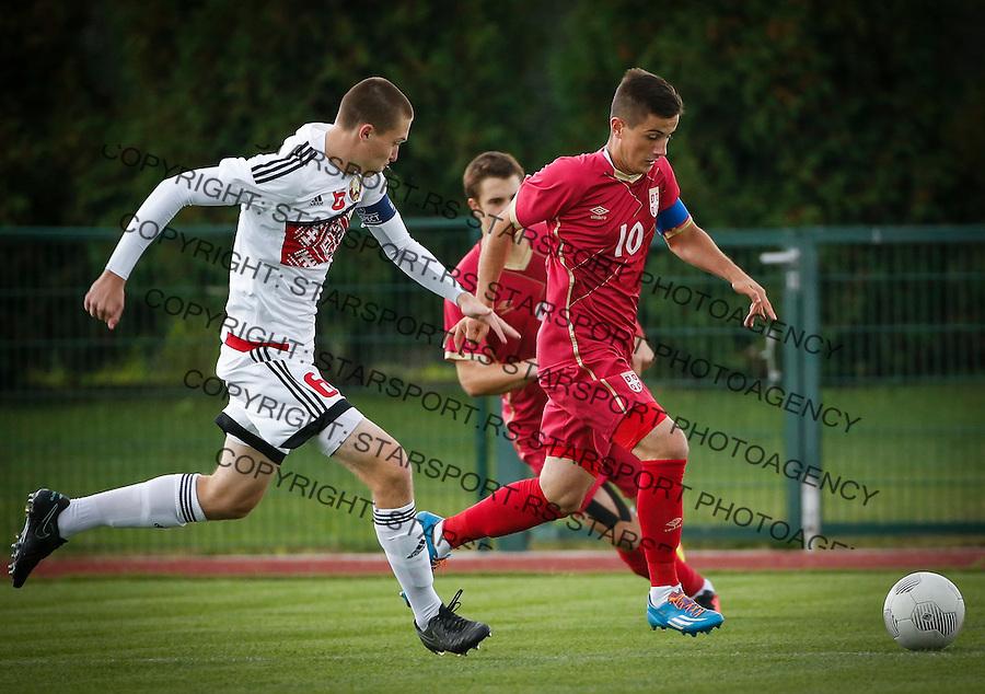Fudbal Soccer<br /> International Friendly-Prijateljski mec<br /> Srbija U17 v Belorusiaj U17<br /> Armin Derlek (R)<br /> Stara Pazova, 20.09.2016<br /> foto: Srdjan Stevanovic/Starsportphoto &copy;
