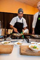 Chef John Sinopoli, (Table 17/Ascari Enoteca) serves up .Orrechiette with White Pork Shoulder Ragu, Brussel Sprouts and Orange Zest at FoodShare Toronto's Recipe for Change, February 28,  2013