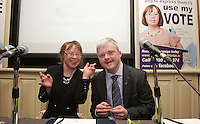 No Fee 21/03/14 Orla Hannon and David Clarke pictured at World Down Syndrome Day ,The National Advisory Council who are adults with Down syndrome are going to be delivering their manifesto to a bunch of TD's and MEPs and handing out fliers etc.Pictured at Buswells Hotel,Co Dublin this afternoon… Pic STEPHEN COLLINS/Collins Photos