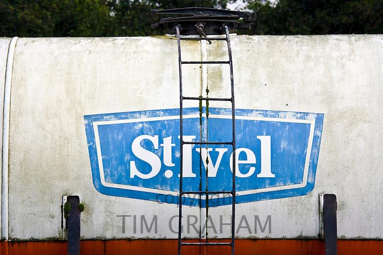 St. Ivel logo on old train tanker, Gloucestershire, United Kingdom