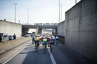 peloton under the bridge<br /> <br /> Kuurne-Brussel-Kuurne 2016