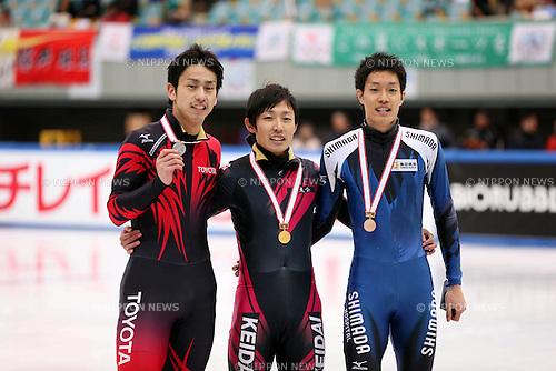(L-R) Satoshi Sakashita, Daisuke Uemura, Takayuki Muratake,<br /> DECEMBER 15, 2013 - Short Track :<br /> Short track Japan National Team Selection for Sochi Oympic Games, Men's 500m final at Osaka Pool Ice Skating Rink, Osaka Japan. (Photo AFLO SPORT)