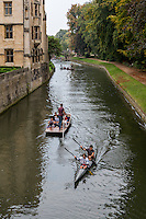 UK, England, Cambridge.  Punting on the River Cam.
