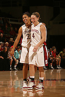 19 January 2006: Rosalyn Gold-Onwude and Clare Bodensteiner during Stanford's win over the University of California Golden Bears at Maples Pavilion in Stanford, CA.