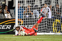 Orlando, FL - Saturday Jan. 21, 2017: Corinthians goalkeeper Cassio Ramos (12) makes a save during the penalty shootout of the Florida Cup Championship match between São Paulo and Corinthians at Bright House Networks Stadium. The game ended 0-0 in regulation with São Paulo defeating Corinthians 4-3 on penalty kicks.
