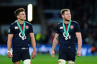 Henry Slade and Teimana Harrison of England look on after the match. Old Mutual Wealth Series International match between England and Fiji on November 19, 2016 at Twickenham Stadium in London, England. Photo by: Patrick Khachfe / Onside Images