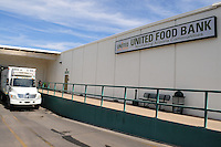 Phoenix, Arizona. October 18, 2012 - The United Food Bank loading dock is the area where five delivery truck drivers bring in donated food into the warehouse. As the amount of food donations decreases, food banks such as the United Food Bank strive to keep up with hunger relief needs of 1 in 5 (20%) of Arizonans who are living in poverty and, based on figures of the Department of Health and Human Services. Photo by Eduardo Barraza © 2012