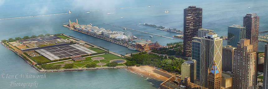A panoramic view of Navy Pier in Chicago from the John Hancock Tower.