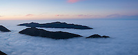 Mountains emerge above inversion layer fog, from summit of Breitenberg, Allg&auml;u, Bavaria, Germany